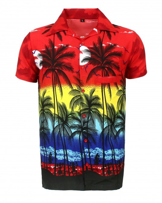 Red Palm Hawaaiian Shirt