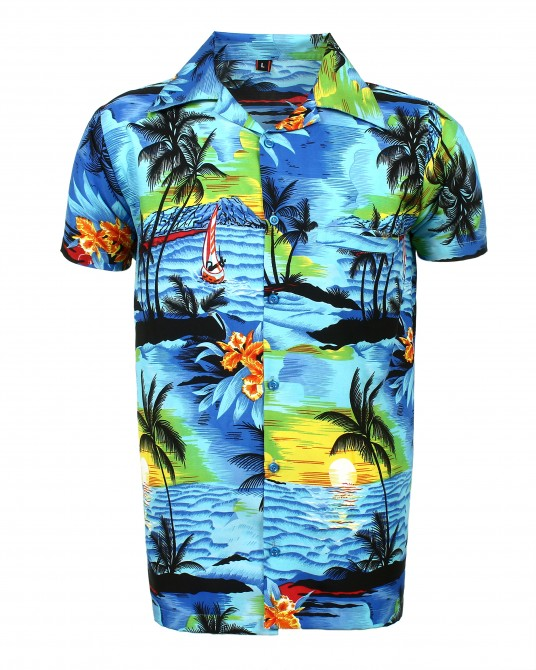 Blue Beach Palm Hawaaiian Shirt