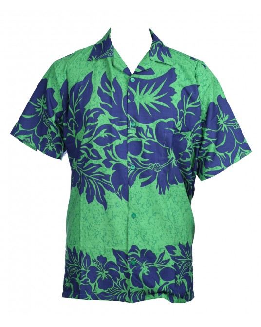 Green Hibiscus Hawaiian Shirt