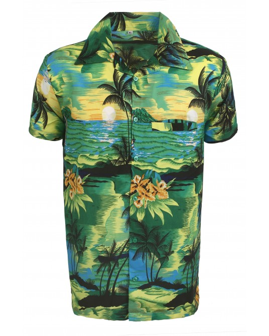 Green Beach Palm Hawaaiian Shirt