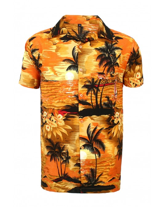 Orange Beach Palm Hawaaiian Shirt