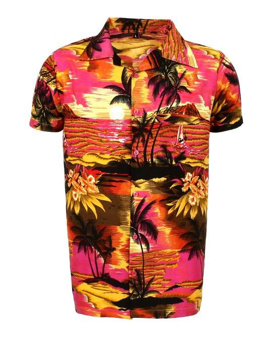 Pink Beach Palm Hawaaiian Shirt