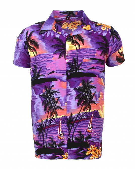 Purple Beach Palm Hawaiian Shirt