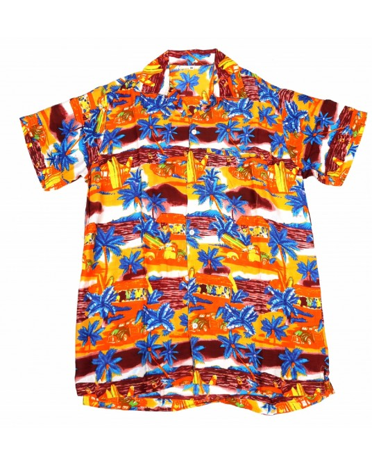 Orange Rayon Hawaiian Shirt