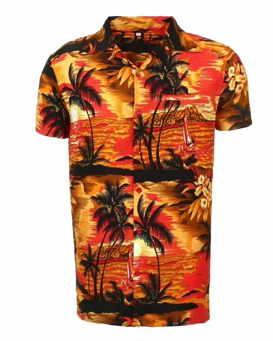 Red Beach Palm Hawaaiian Shirt