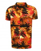 Red Beach Palm Hawaiian Shirt