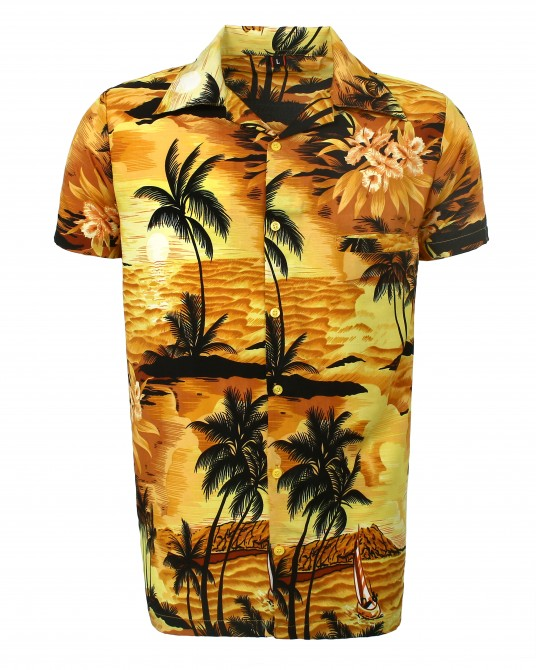 Yellow Beach Palm Hawaaiian Shirt