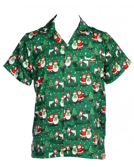 Green Snow Man Santa Hawaiian Shirt
