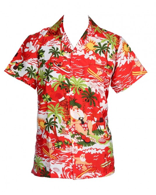 Red Hawaii Santa Hawaiian Shirt