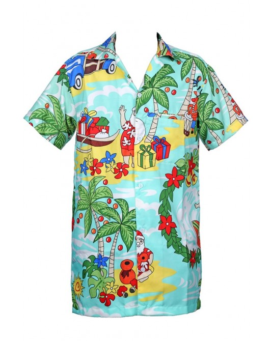 Turquoise Drum santa Hawaiian Shirt