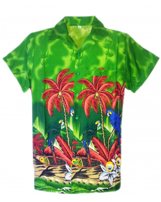Green Parrot lock Hawaiian Shirt