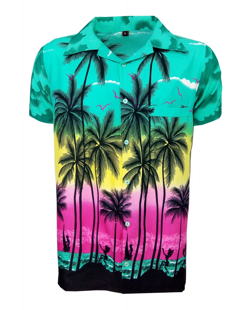 Dark Green Palm Hawaaiian Shirt