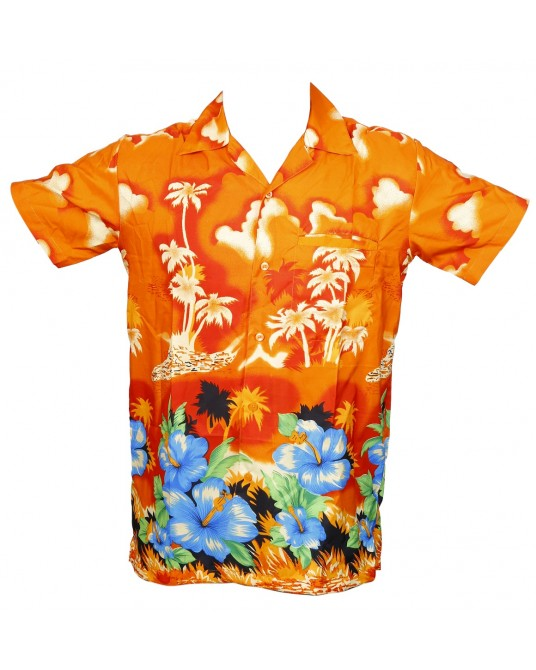 Orange New Palm Hawaiian shirt