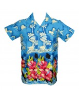 Turquoise New Palm Hawaiian shirt