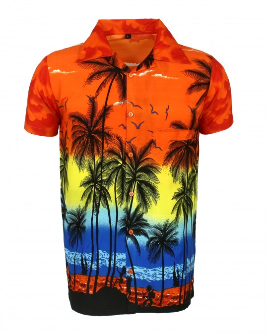 Orange Palm Hawaaiian Shirt