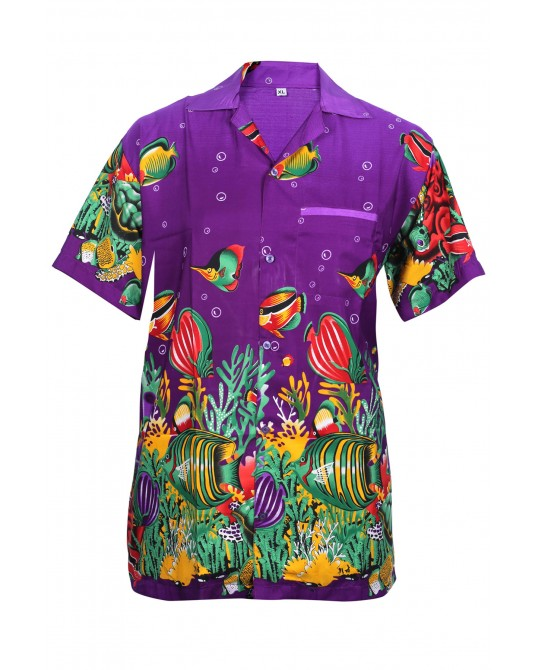 Purple Fish Hawaiian Shirt